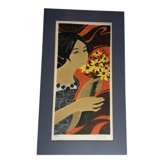 1970s Jeune Fille Lithograph by Yves Ganne