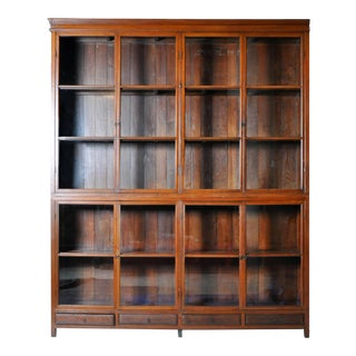 British Colonial Bookcase with Four Drawers