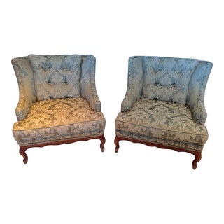 Upholstered Lounge Chairs - A Pair