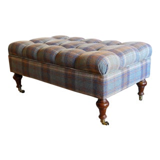 Custom Rogers & Goffigon-fabric Tufted Storage Ottoman