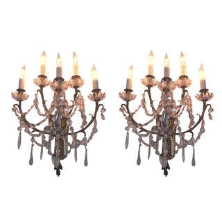 Antique Bronze & Crystal Wall Sconces - A Pair