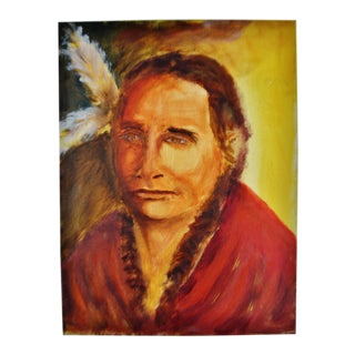 Oil on Canvas Painting Portrait of Native American Indian