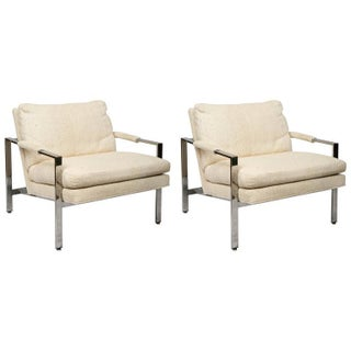 Milo Baughman Mid-Century Chrome Lounge Chairs - A Pair