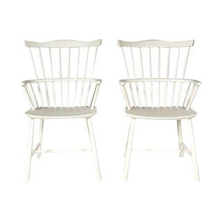 Børge Mogensen White Windsor Chairs - a Pair