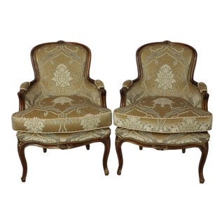 Vintage French Louis XV Style Bergere Chairs - A Pair