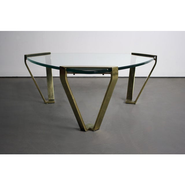 Pace Triangular Glass Coffee Table With Brass Legs
