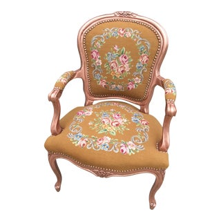 Antique Needlepoint Fauteuil Arm Chair