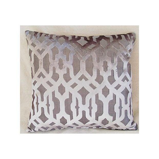 Image of Designer Gray Geometric Trellis Pillows - A Pair