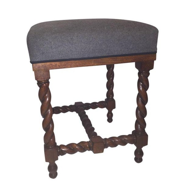 Spindle Bench With Gray Flannel Seat Chairish