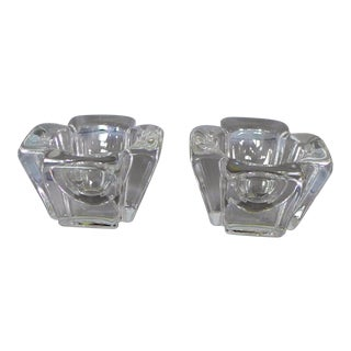 Orrefors Crystal Candleholders - Set of 2