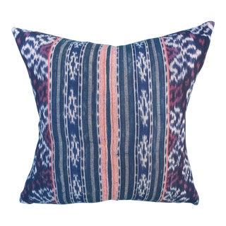 Vintage Indonesian Tribal Ikat Textile Pillow