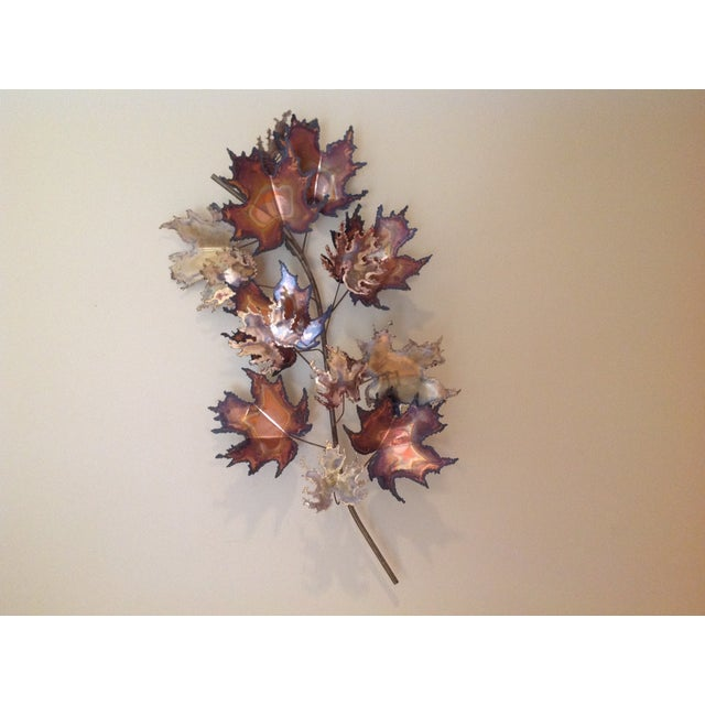 C Jere Brass Autumn Leaves Wall Sculpture, 1971 - Image 2 of 6