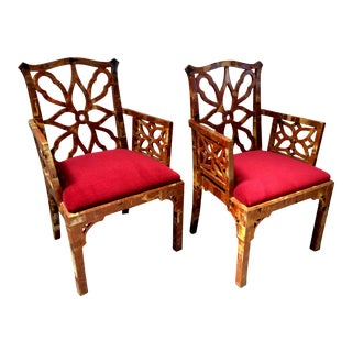 Chippendale Tessallated Horn Chairs - Pair