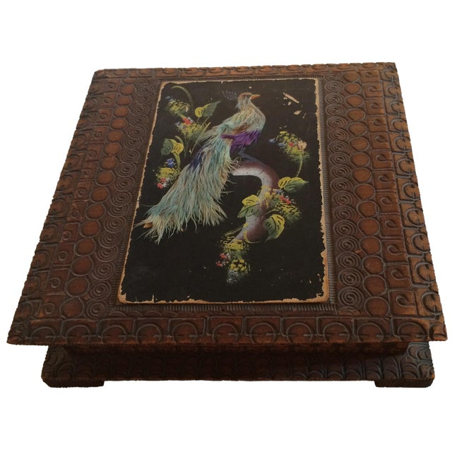 Vintage Carved Box With Peacock on Painted Lid - Image 1 of 8