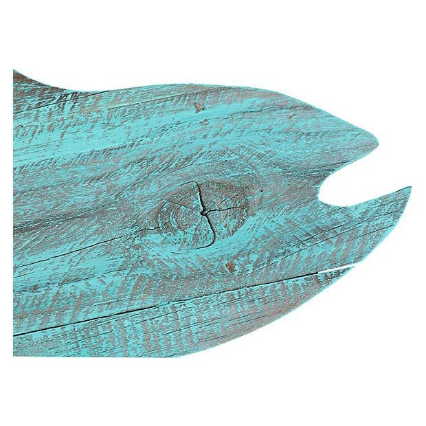 Turquoise Painted Reclaimed Wood Fish Cutout - Image 2 of 4