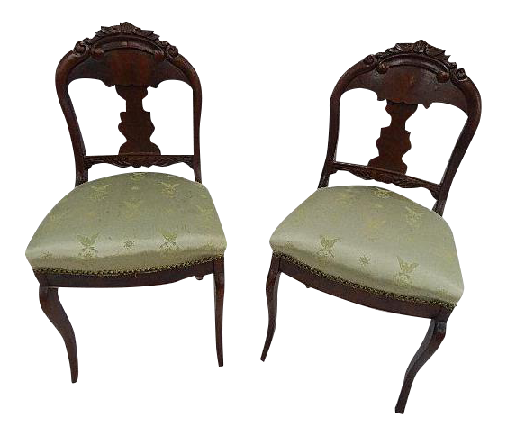 antique flame mahogany side chairs a pair