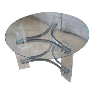 Mid-Century Modern Charles Hollis Jones Lucite Small Chrome & Glass Coffee Table