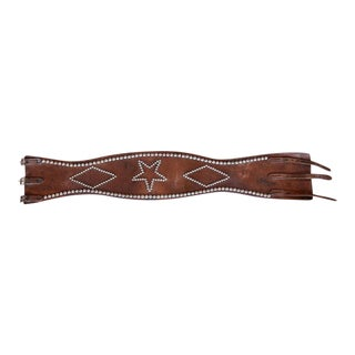 Leather Bronc Belt with Star and Diamond Design