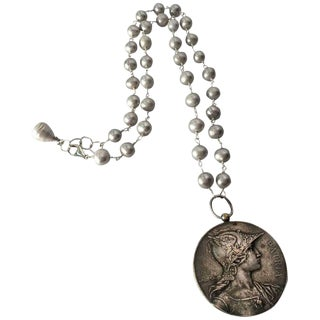 Late 19th Century Pewter Medallion on Freshwater Pearl Necklace