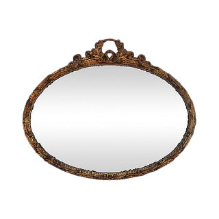 1930s Large Oval Ornate Gold Gilt Acanthus Leaf Wall Mirror