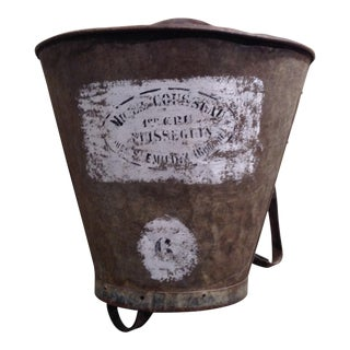 Antique French Zinc Grape Vineyard Bucket