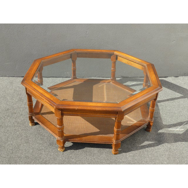 Mid Century Octagon Beveled Glass Top Coffee Table - Image 2 of 9