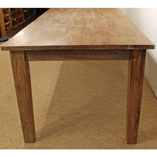"French Country Farm Rustic Dining Table 90"" Long - Image 3 of 11"