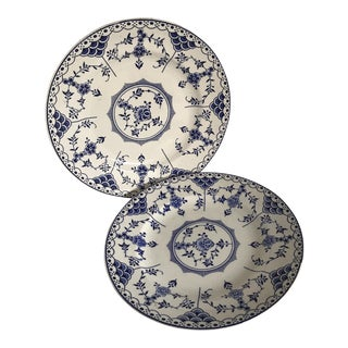 Vintage Blue and White English Dinner Plates - A Pair