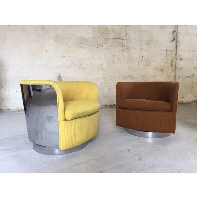 Image of Milo Baughman Chrome Back Swivel Chairs - A Pair