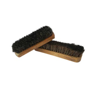 Vintage Wood Block Horsehair Clothing Shoe Brush - Set of 2