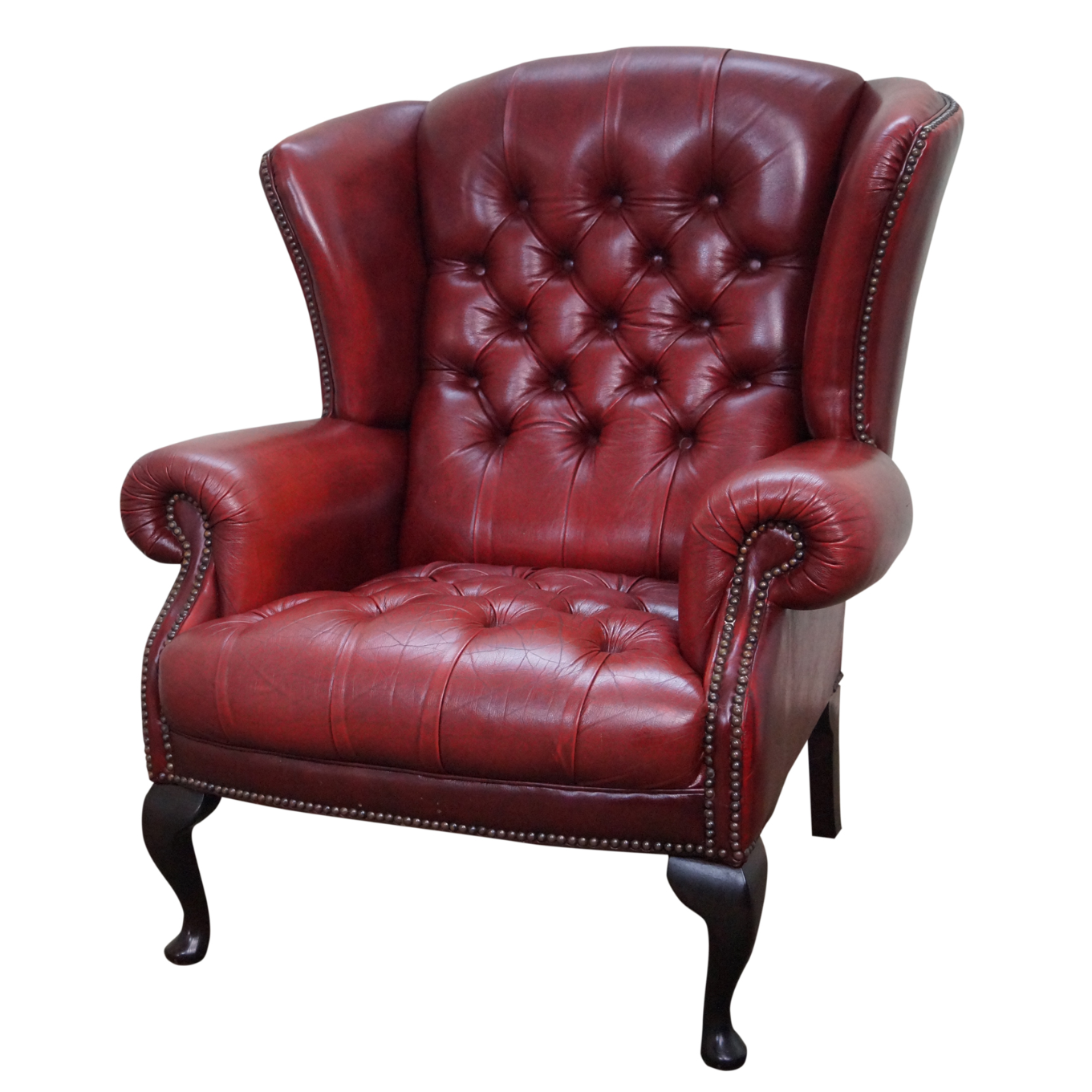 English tufted leather chesterfield wingback chair chairish