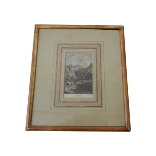 Antique 19th C. German Etching of Amalfi Cost