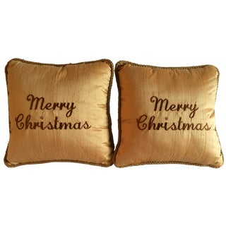 Merry Christmas Gold Silk Shantung Pillows - A Pair