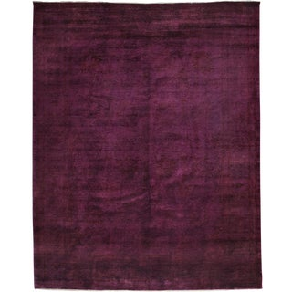 "Purple Overdyed Hand Knotted Area Rug - 9'2"" X 11'7"""