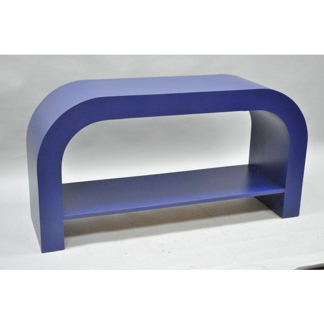 Mid Century Post Modern Blue Laminate Curved Waterfall Console - Image 2 of 11