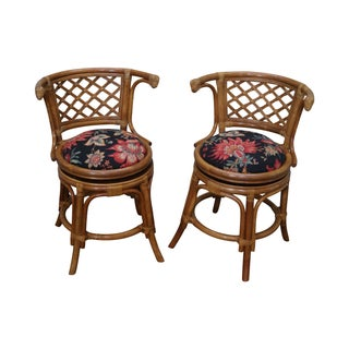 Vintage Rattan Bamboo Swivel Barrel Back Chair - 2