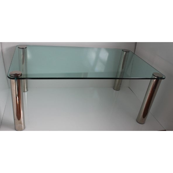Pace Dining Table With Chrome Legs and Glass Top - Image 4 of 10