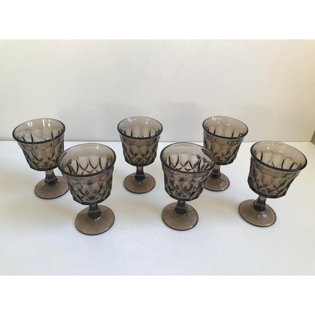 Vintage Thumbprint Smoked Pressed Glass Goblets - Set of 6 - Image 5 of 7