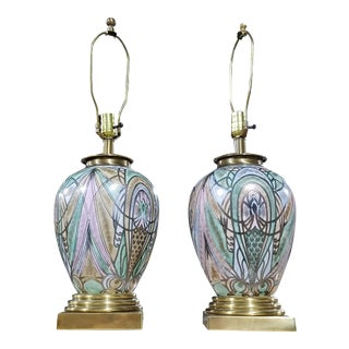Frederick Cooper Peacock Lamps - A Pair