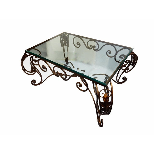 French style fer forge coffee table chairish for Table fer forge ronde