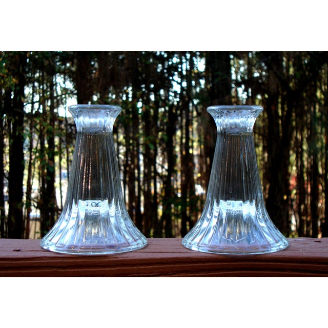 Modern Crystal Ribbed Candle Holders - Pair - Image 3 of 8
