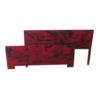 Vintage Red Headboard & Footboard