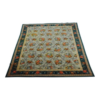"French Abusson Flat Pile Floral Rug - 5' 3"" X 7"" 3"""