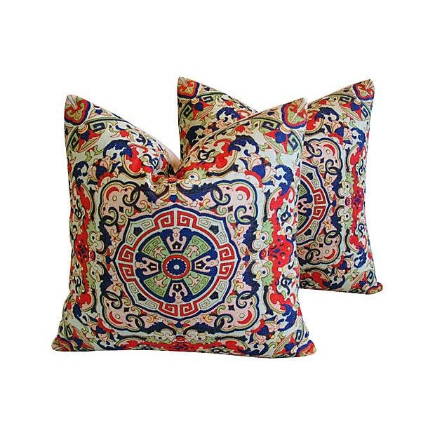 Asian Floral Medallion Linen Pillows - Pair - Image 1 of 7