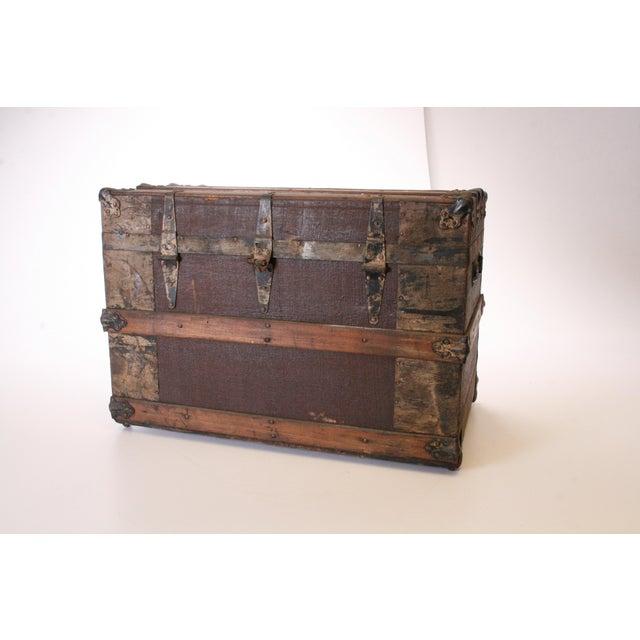 Victorian Wood & Metal Flat Top Brown Steamer Trunk - Image 3 of 11
