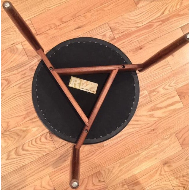 Image of Jens Risom Design Teak & Black Leather Stool