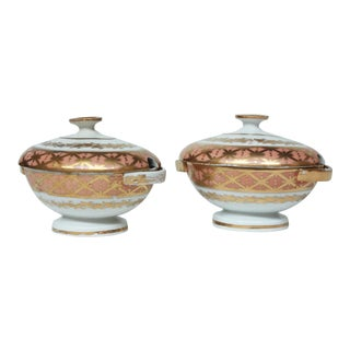 Pair 19th Century English Porcelain Sauce Tureens