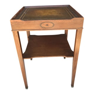 Vintage Leather Top Occasional Table