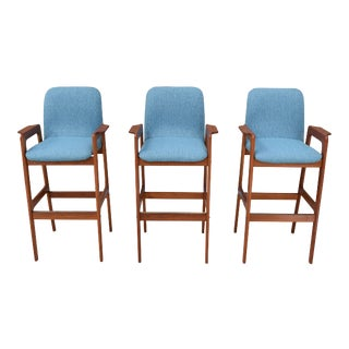 Vintage Danish Modern Teak Bar Stools - Set of 3