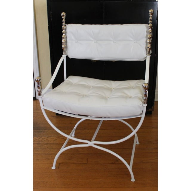 Throne Chair With White Leather - Replated - Image 3 of 4
